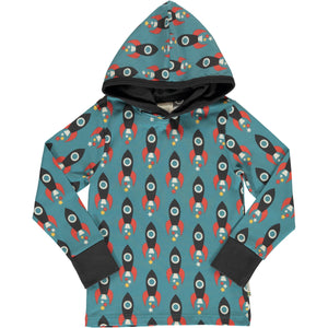 Maxomorra Long Sleeve Hood - Moon Rocket