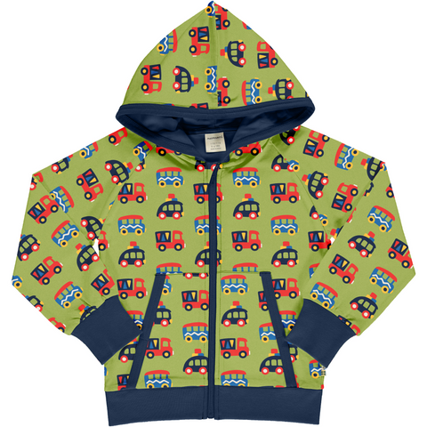 Maxomorra Hooded Cardigan - Colourful Cars