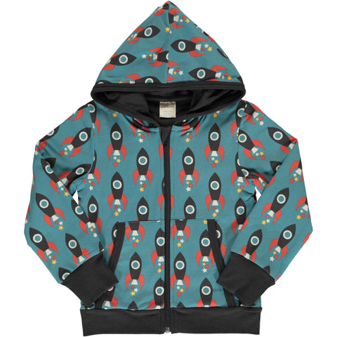 Maxomorra Hooded Cardigan - Moon Rocket