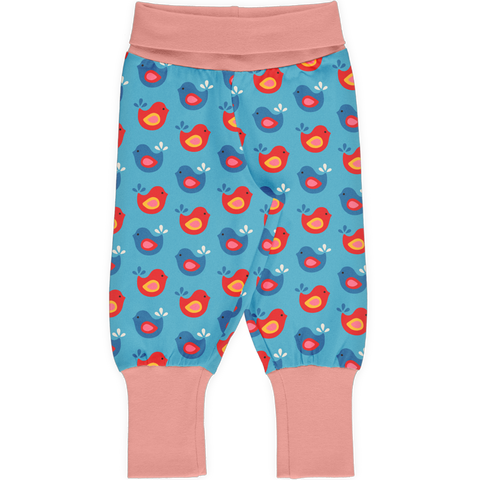 Maxomorra Rib Pants - Bright Birds