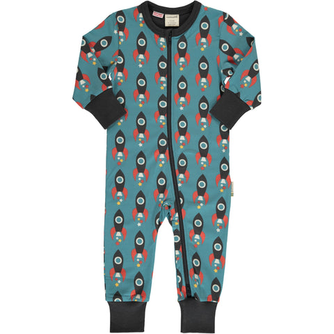 Maxomorra Long Sleeve Zip Romper - Moon Rocket