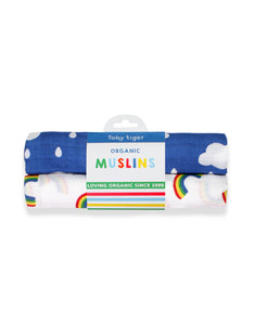 Toby Tiger Multi Rainbow Muslin 2-pack
