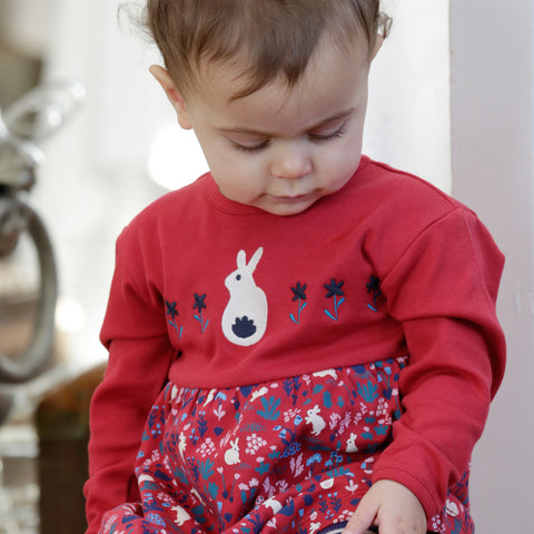 Image of Piccalilly Baby Body Dress - Woodland Bunny