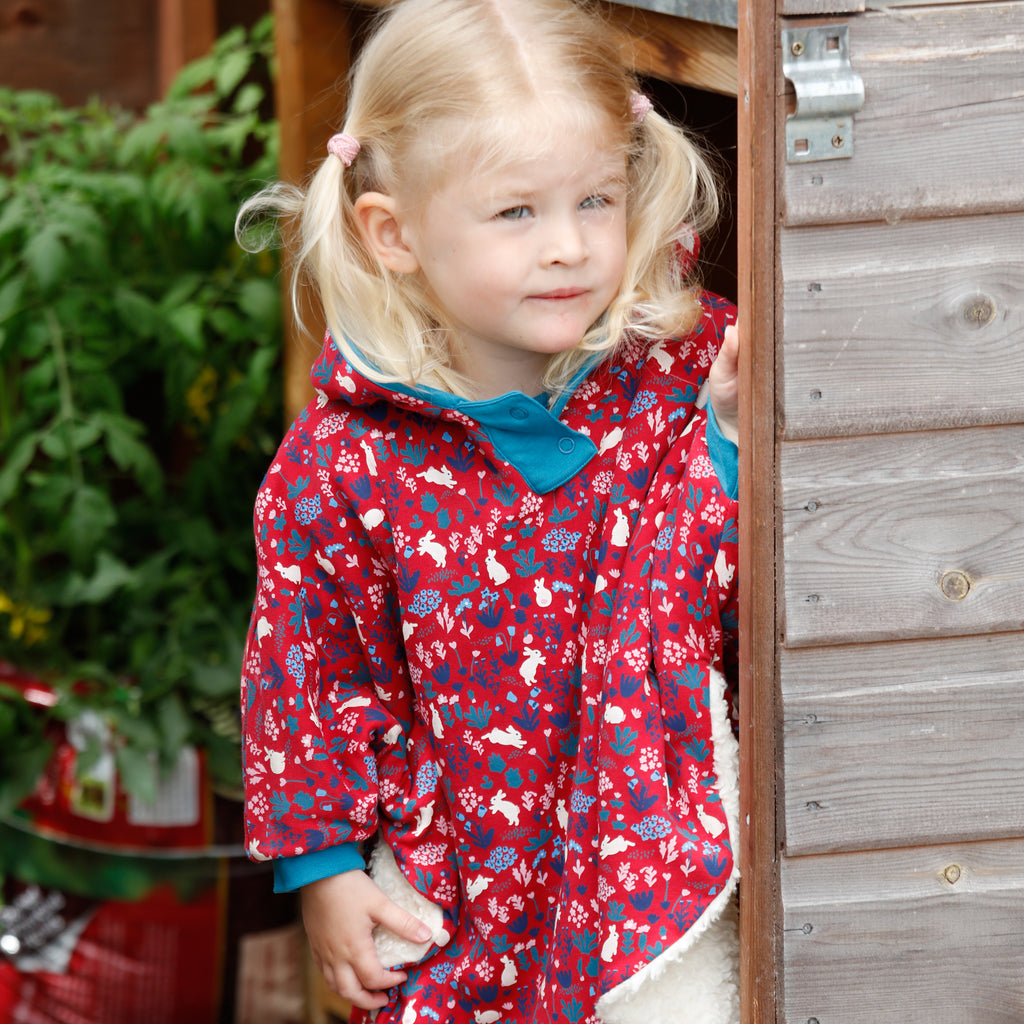 Piccalilly -  Poncho - Bunny Print - Organic Cotton