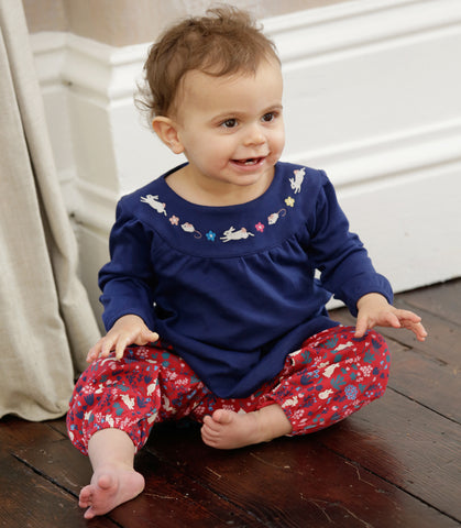 Image of Piccalilly - Ruffle Trousers - Woodland Bunny - Organic Cotton