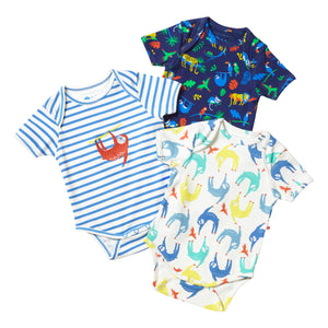 Piccalilly Pack of 3 Baby Bodysuits - Sloths & Safari