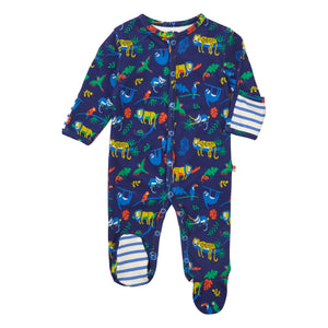 Piccalilly Footed Sleepsuit - Safari