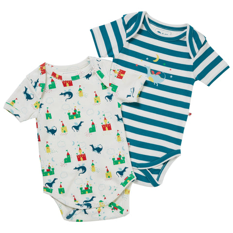 Piccalilly Baby Bodysuit 2 Pack - Magic Dragon