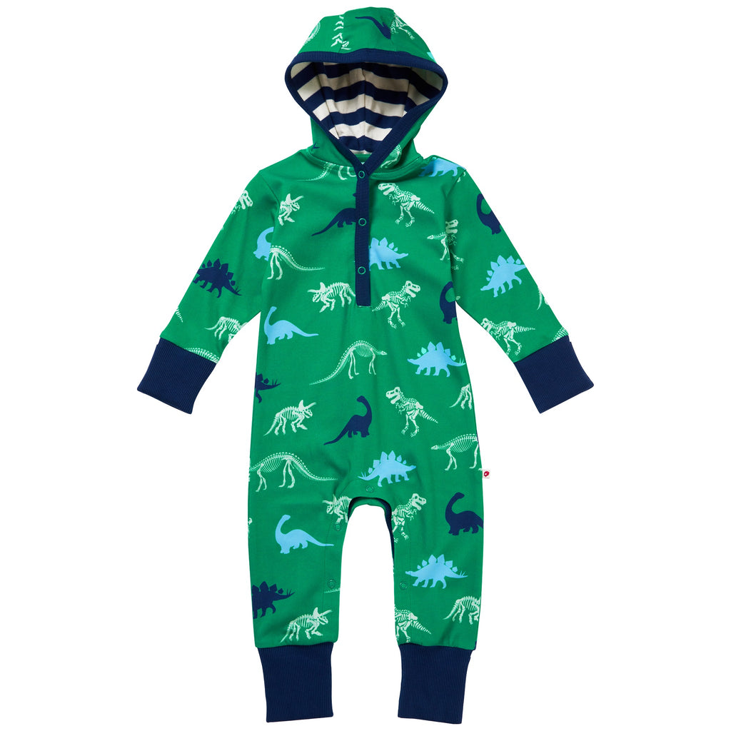 Piccalilly Hooded Playsuit - Dinosaur