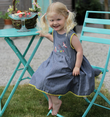 Piccalilly Chambray Baby Dress - Tropical