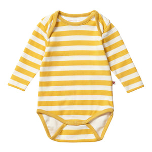 Piccalilly Baby Bodysuit - Mustard Stripe