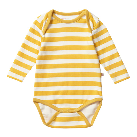 Image of Piccalilly Baby Bodysuit - Mustard Stripe