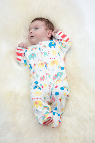 Piccalilly Footed Sleepsuit - Party Elephant