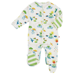 Piccalilly Footed Sleepsuit - Jumping Frog