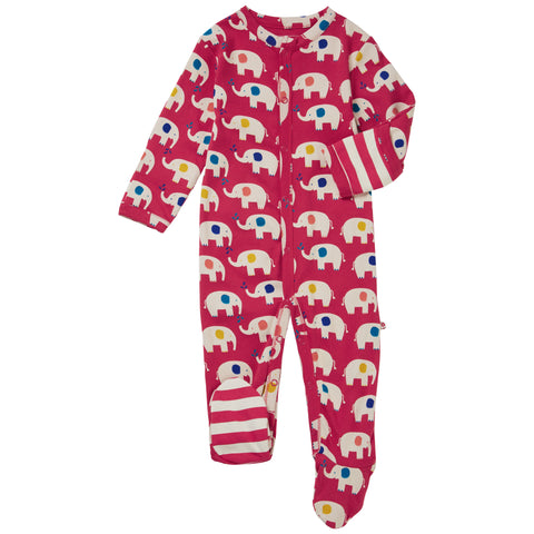 Piccalilly Footed Sleepsuit - Elephant