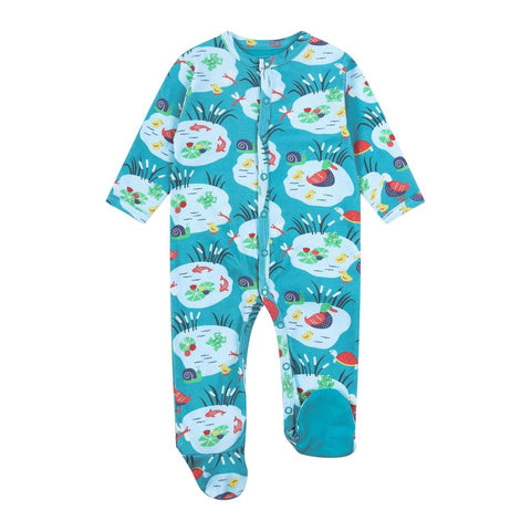 Piccalilly Footed Sleepsuit - Pondlife