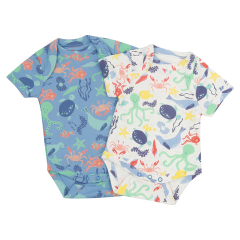 Piccalilly 2 Pack Baby Bodysuits - Underwater