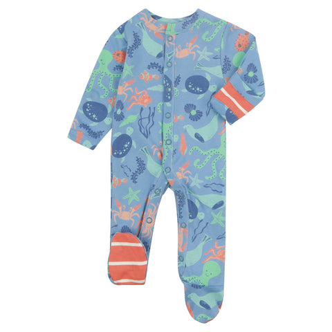 Piccalilly Footed Sleepsuit - Save Our Seas