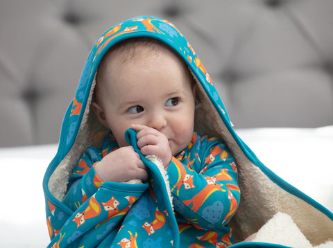 Piccalilly Hooded Baby Shawl - Foxes