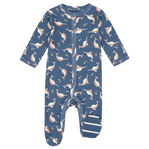 Piccalilly Footed Sleepsuit - Narwhals