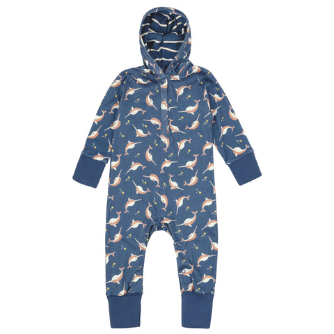 Image of Piccalilly Hooded Playsuit - Narwhals