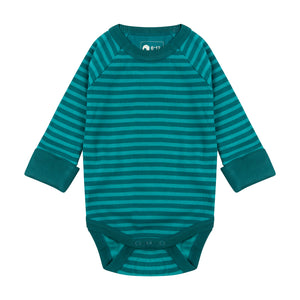 Piccalilly Ribbed Baby Bodysuit - Lake Blue