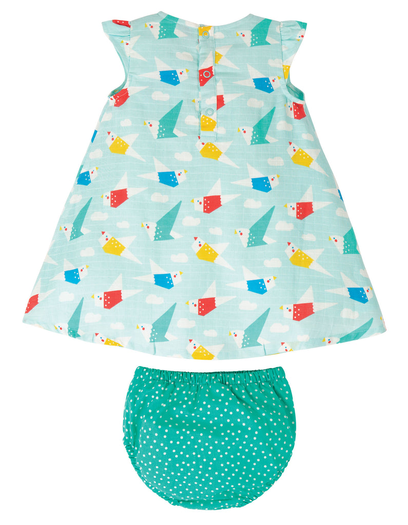 Frugi Dolly Muslin Outfit - Aqua Origami Flight