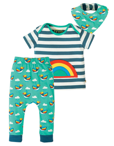 Image of Frugi Frankie Outfit- Steely Blue Stripe/Rainbow