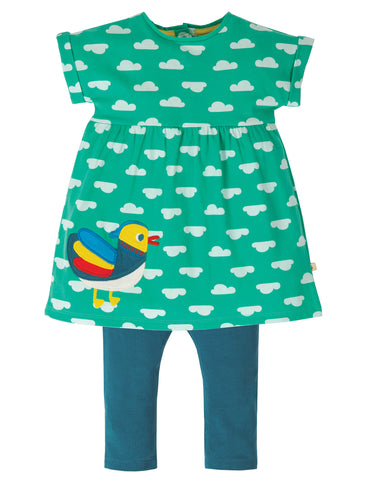 Image of Frugi Olive Outfit - Pacific Aqua Clouds/Duck