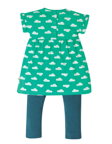 Frugi Olive Outfit - Pacific Aqua Clouds/Duck