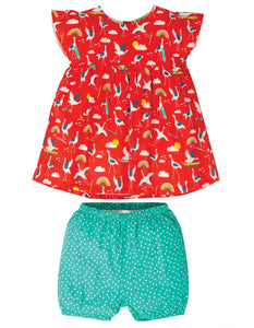 Frugi Waterfall Woven Outfit - Skateboarding Cranes