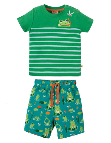 Image of Frugi Mousehole Outfit - Samson Green Frog Pond / Frog