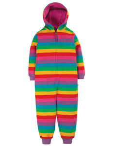 Frugi Big Snuggle Suit - Foxglove Rainbow Stripe