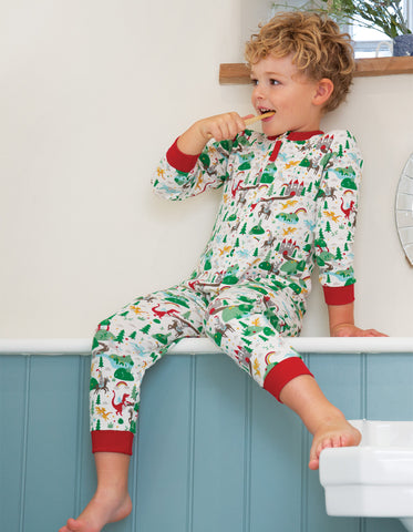 Frugi Zennor Zip Up All In One - Multi Mini Fairytale