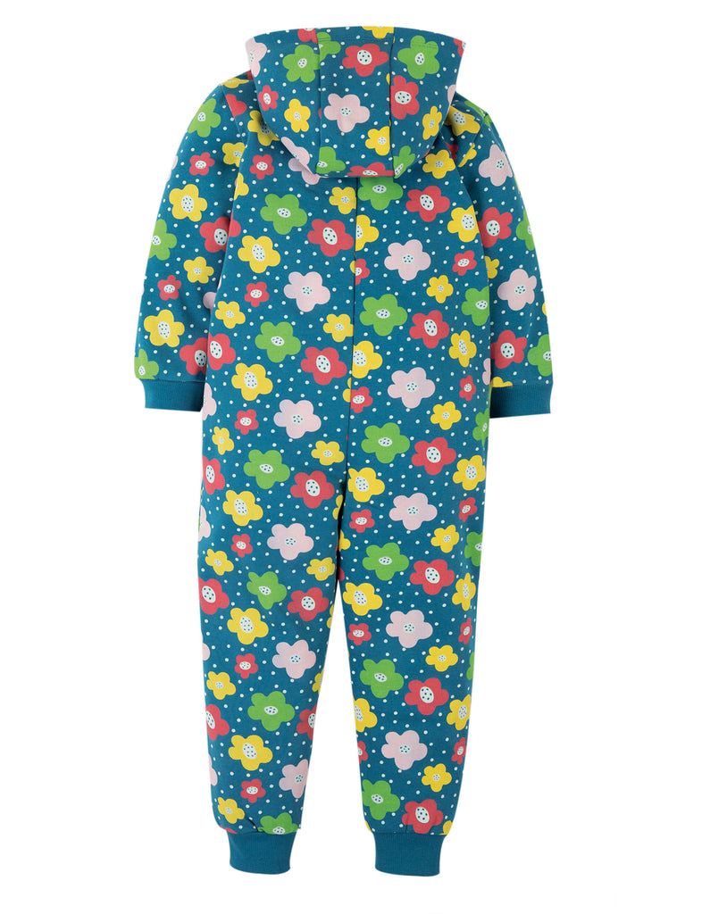 Frugi Big Snuggle Suit - Steely Blue Floral Spot