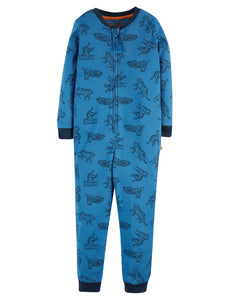 Frugi Zennor Zip Up All In One - Colbalt Tigers