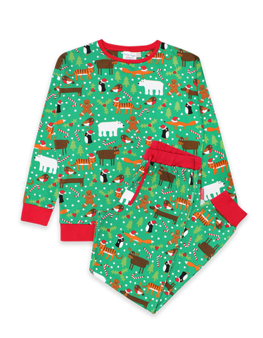 Image of Toby Tiger Adult Christmas Print Pyjamas