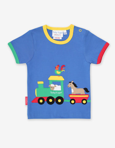 Image of Toby Tiger Animal Train Applique T-Shirt