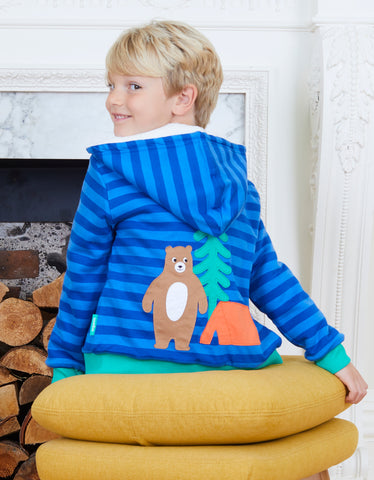Image of Toby Tiger Organic Camping Bear Applique Hoodie