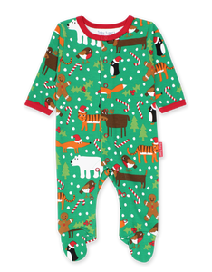 Toby Tiger Christmas Print Sleepsuit