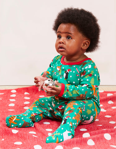 Image of Toby Tiger Christmas Print Sleepsuit