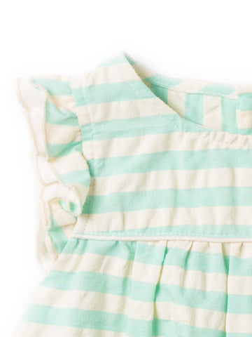 Image of LGR Pale Turquoise Frill Dress - Organic Cotton
