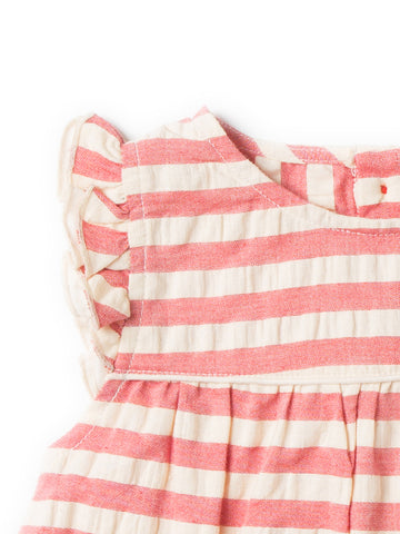 Image of LGR Pale Red  Frill Dress - Organic Cotton