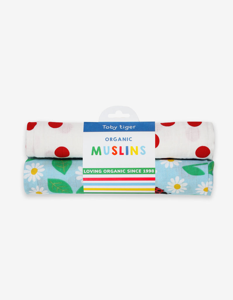 Toby Tiger English Garden Print 2-Pack Muslins