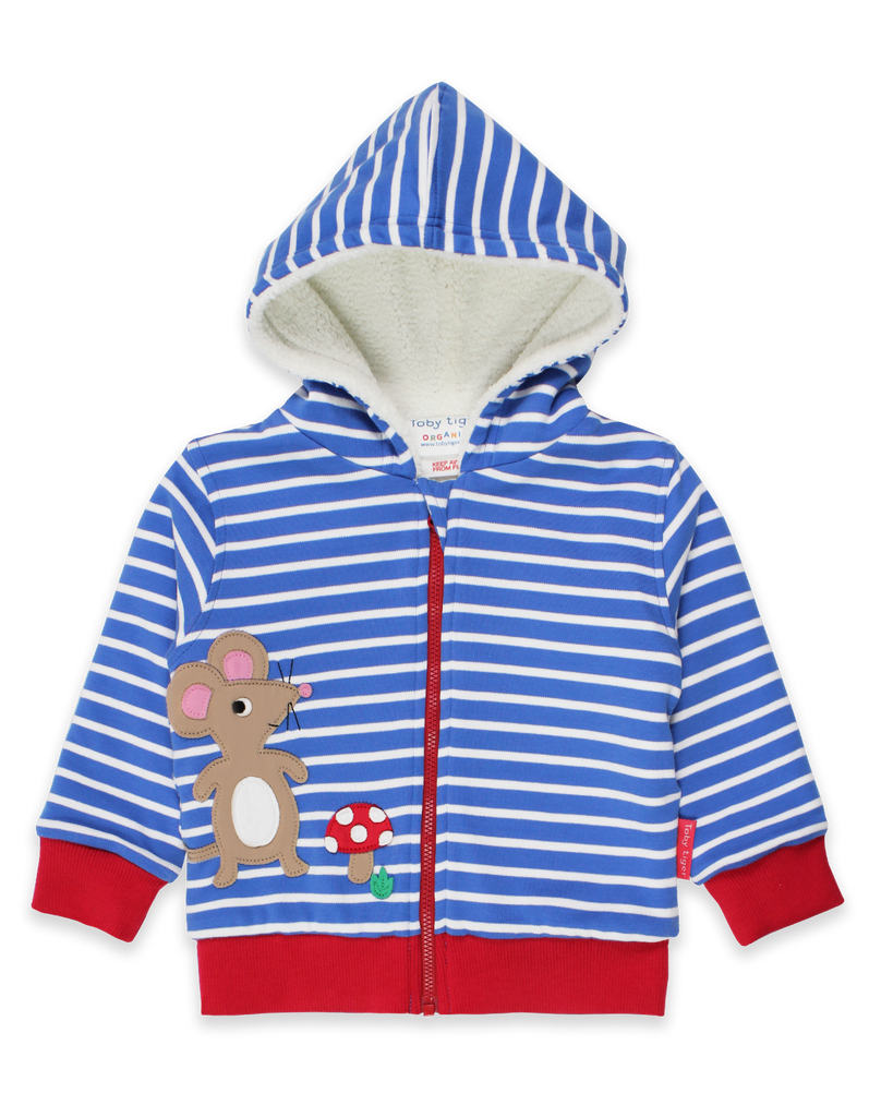 Toby Tiger Organic Mouse and Mushroom Applique Hoodie
