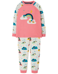 Frugi Ace PJs -  Guava Pink/Rainbow