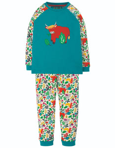 Frugi Ace PJs - Tobermory Teal/Highland Cow