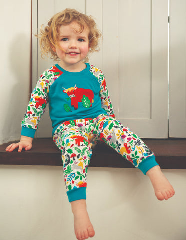 Image of Frugi Ace PJs - Tobermory Teal/Highland Cow