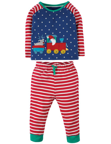 Frugi Stargaze PJs - Twilight Sky/Train - Tilly & Jasper