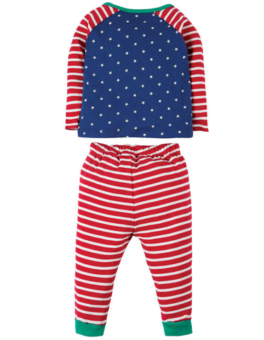 Image of Frugi Stargaze PJs - Twilight Sky/Train - Tilly & Jasper